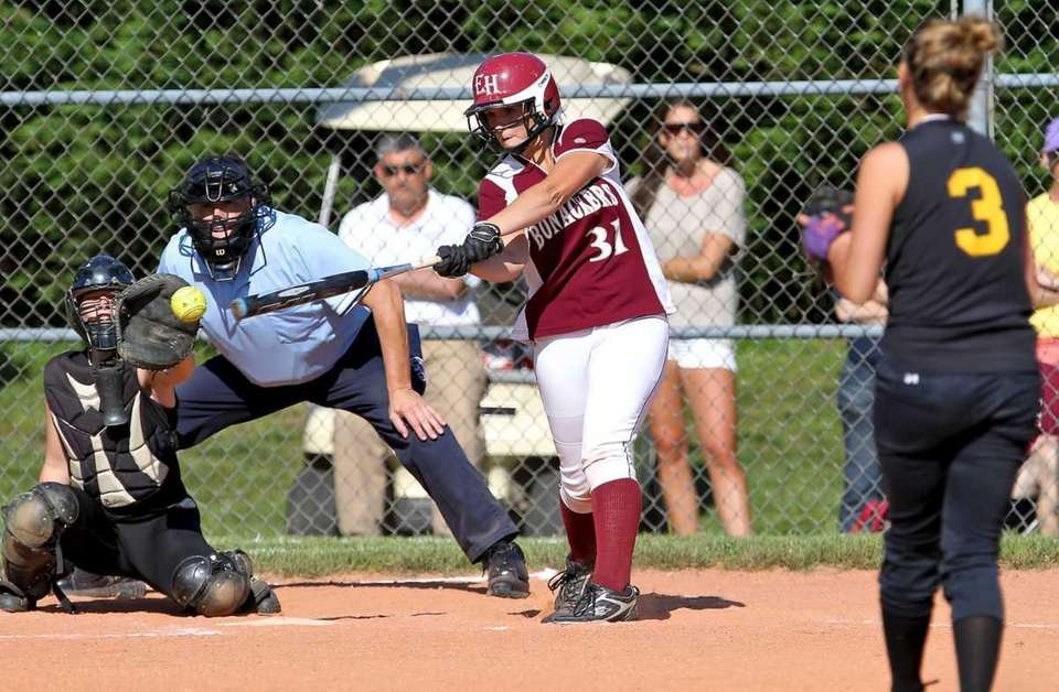 East Hampton's Ilsa Brzezinski strikes out during the