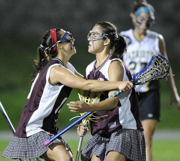 Bay Shore's Kaitlyn Arnold, left, and Cynthia DelCore,