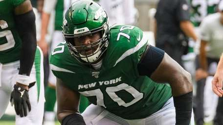 Jets left guard Kelechi Osemele against the Buffalo