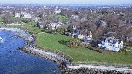 An aerial view of Cliff Walk along Newport,