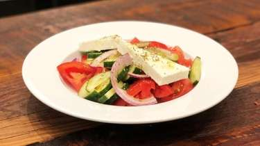 Horiatiki, village salad, is one of the Greek