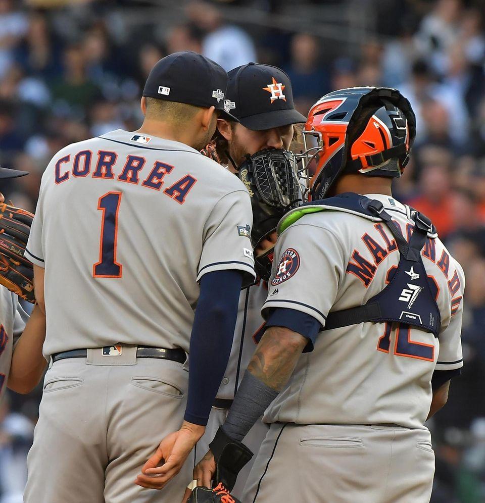 Houston Astros shortstop Carlos Correa (1) and Houston