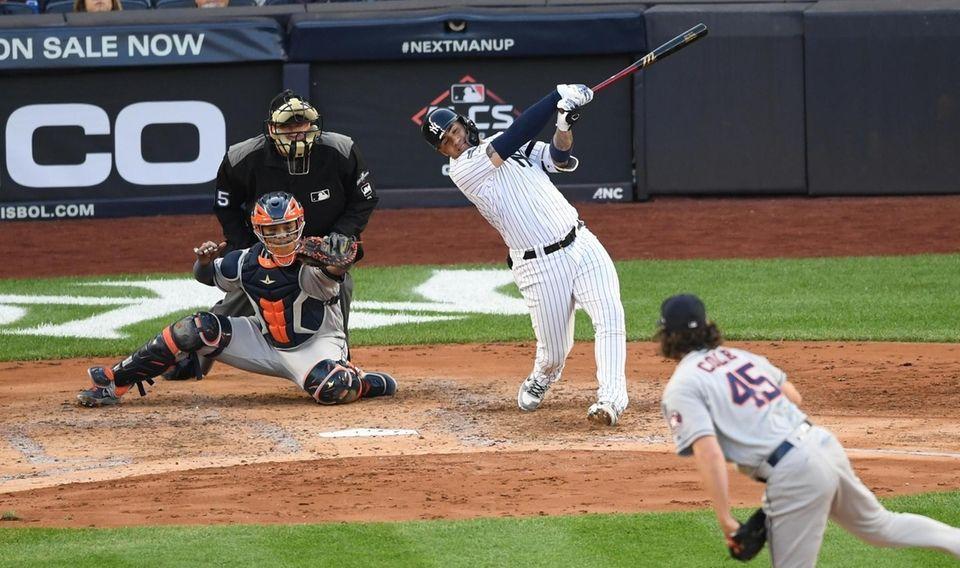 New York Yankees' Gleyber Torres strikes out swinging
