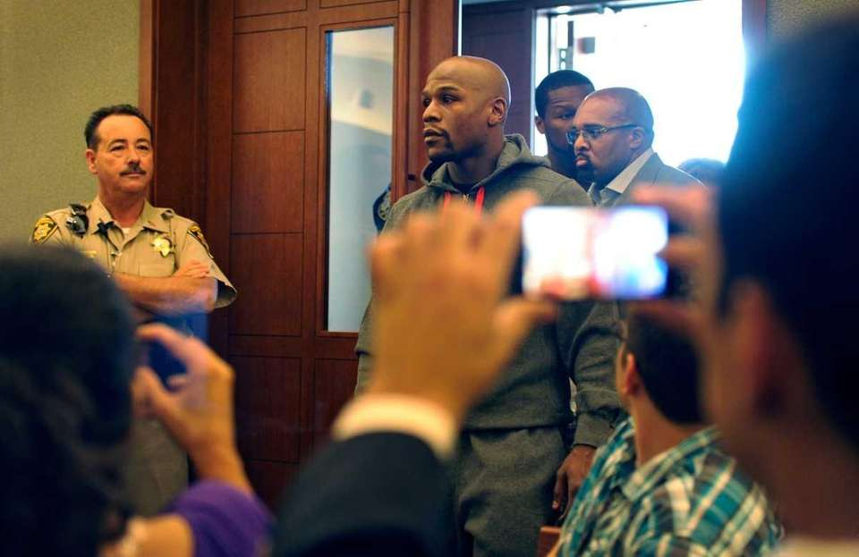Boxer Floyd Maywether Jr. arrives at the Clark