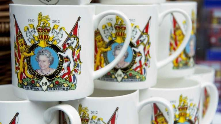 Royal memorabilia featuring Britain's Queen Elizabeth II are