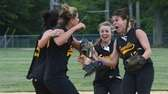 Sayville's Kira Karl (15), Jackie Christensen (10) and