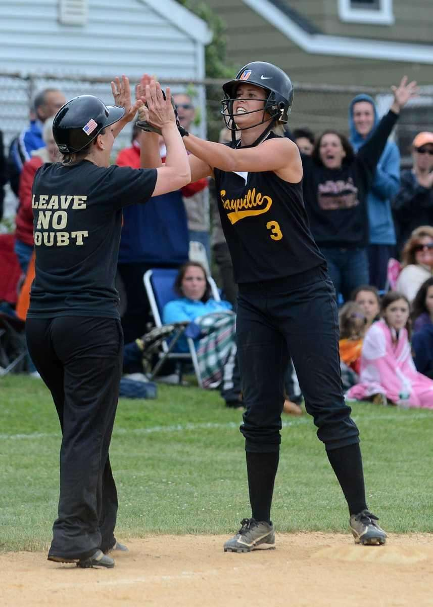 Sayville Head Coach Tiffany Rowan congratulates Marissa Selts