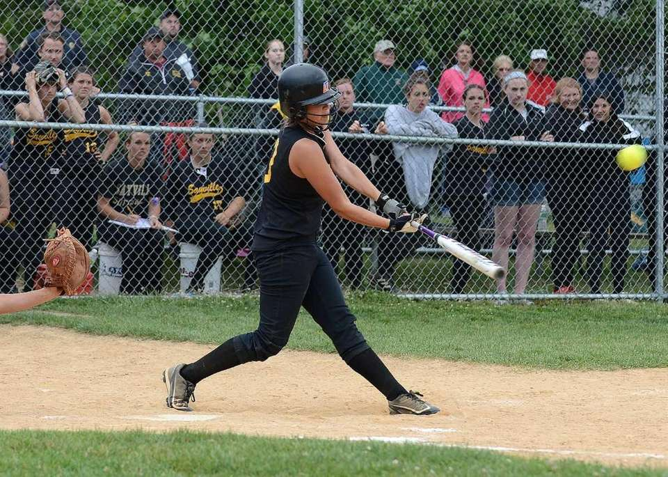 Sayville's Marissa Selts connects for a two-run triple