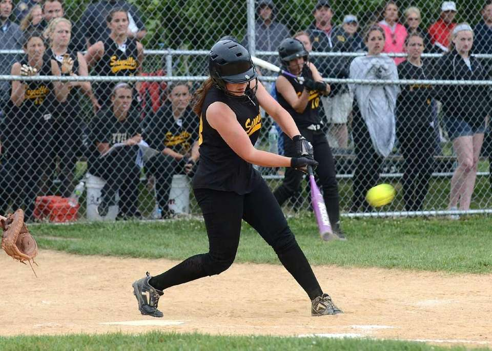 Sayville<s Olivia Kaczmarek connects for a single to