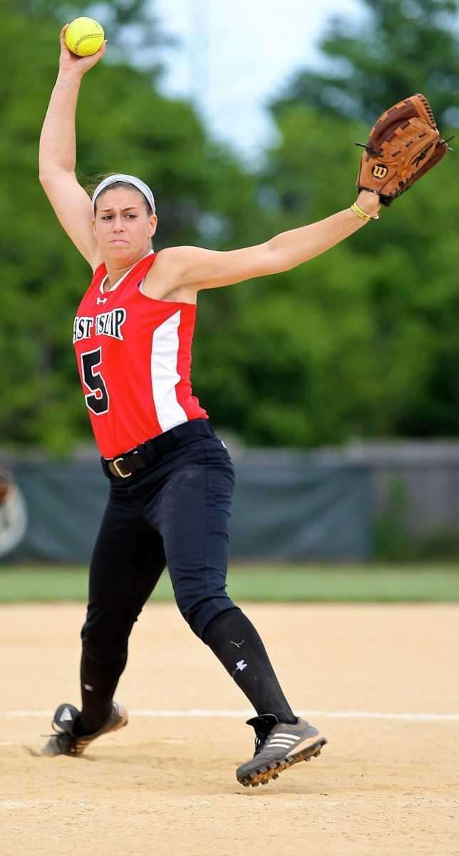 East Islip starting pitcher Courtney Blake delivers to