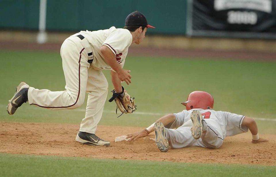 Plainedge's Joe Hauer steals second base ahead of