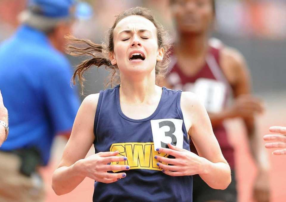 Shannon McDonnell of Shoreham-Wading River reacts after winning