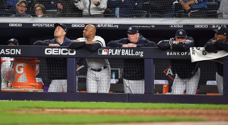 The New York Yankees in the dugout in