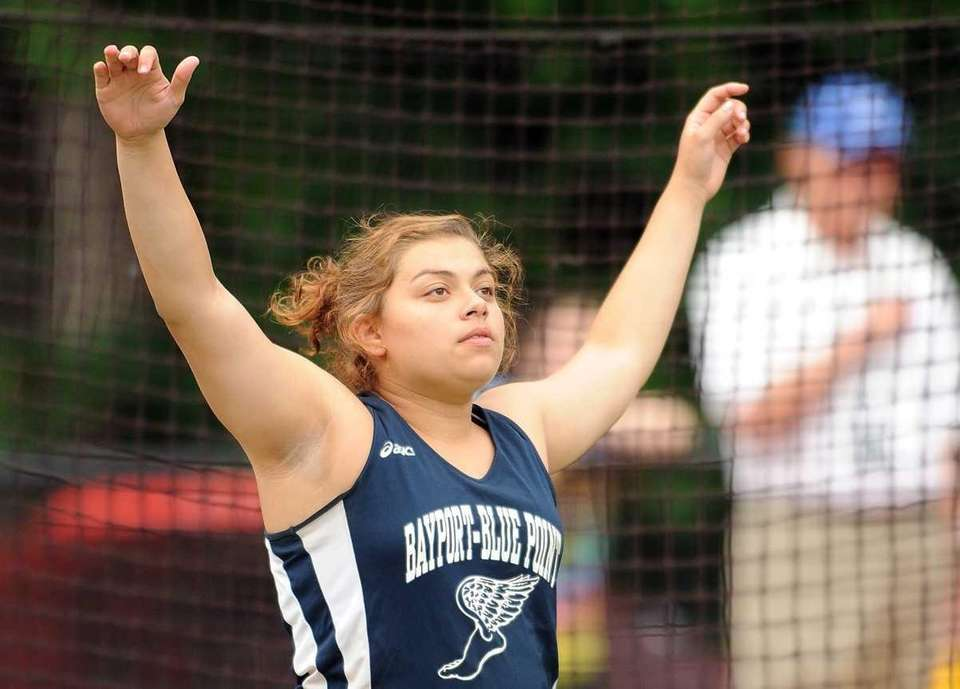 Bayport-Blue Point's Jordan Collins reacts after hurling a