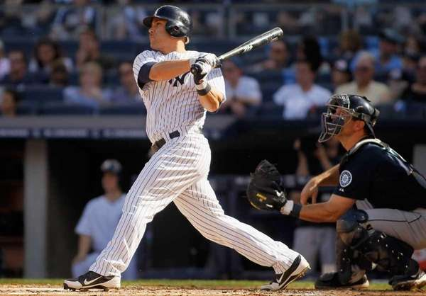 Russell Martin of the Yankees hits an RBI