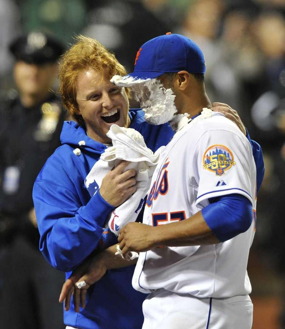 Johan Santana gets pied by Justin Turner. (June