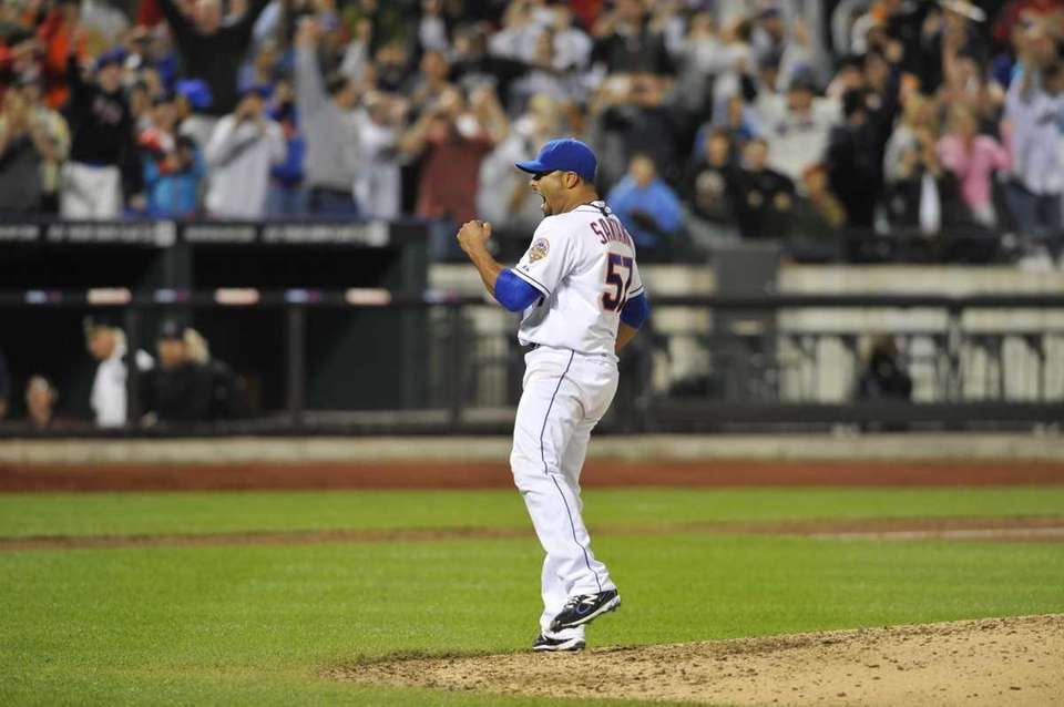 Johan Santana reacts to his no -hitter. (June