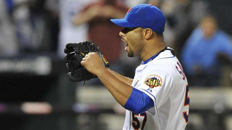 Johan Santana reacts to the final out of