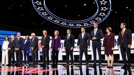 The 12 candidates onstage at the fourth Democratic
