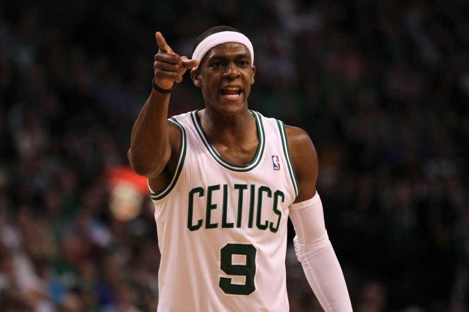 Rajon Rondo #9 of the Boston Celtics gestures