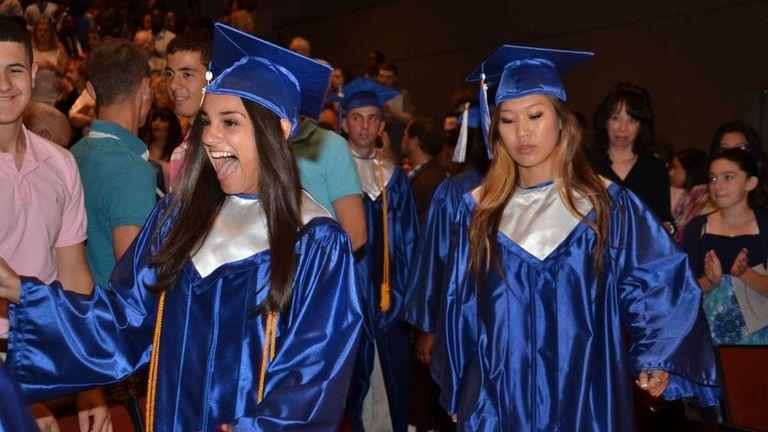 Giovanna Ambroselli, 17, of Whitestone, screams in happiness
