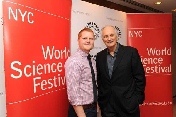 Flame challenge finalist Ben Ames with Alan Alda