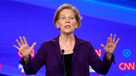 Sen. Elizabeth Warren onstage at the fourth Democratic