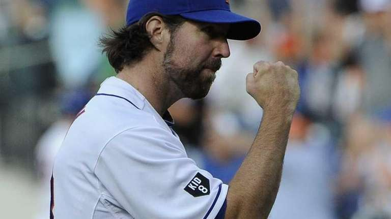R.A. Dickey reacts after his last pitch in