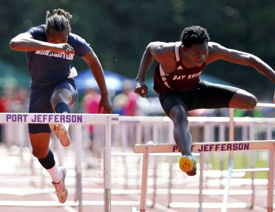 Bay Shore's Kadesh Roberts clips the last hurdle