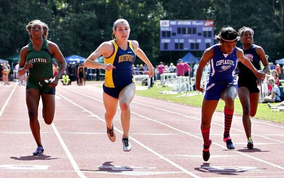 Copiague's Janel Francis takes the girls 100 meter