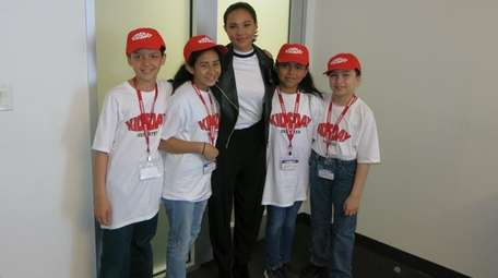 Actress Breanna Yde with Kidsday reporters Alexis Tejada,