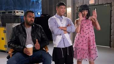 Kal Penn, left, Joel Kim Booster and Poppy