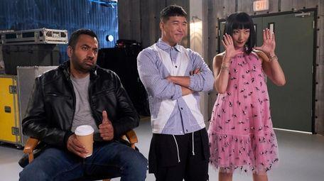 Kal Penn, left, Joel Kim Booster and Poppy