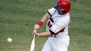 Stony Brook's Kevin Courtney hits a double to