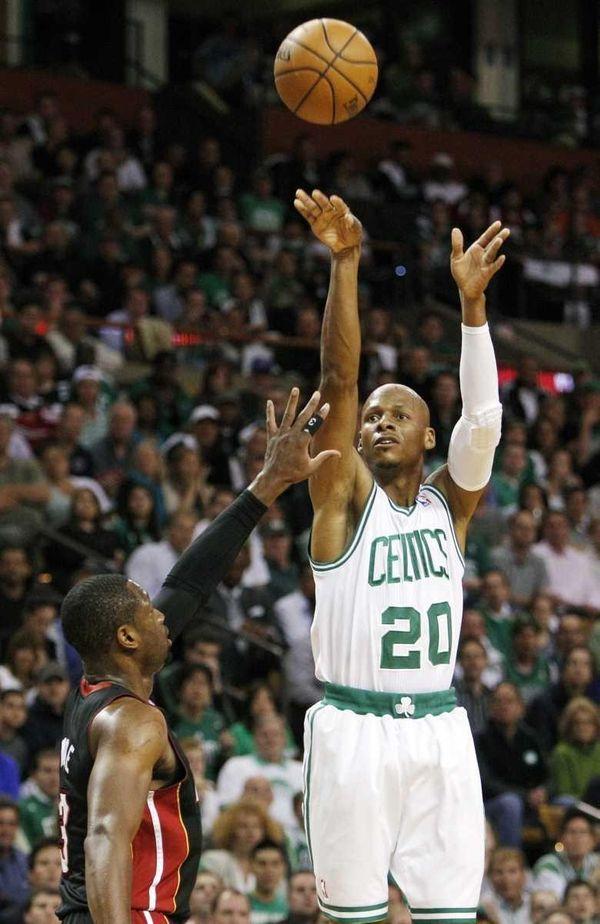 Boston Celtics guard Ray Allen (20) shoots a