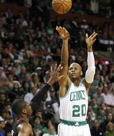 Boston Celtics guard Ray Allen (20) shoots a