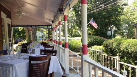 The veranda at 18 Bay on Shelter Island.