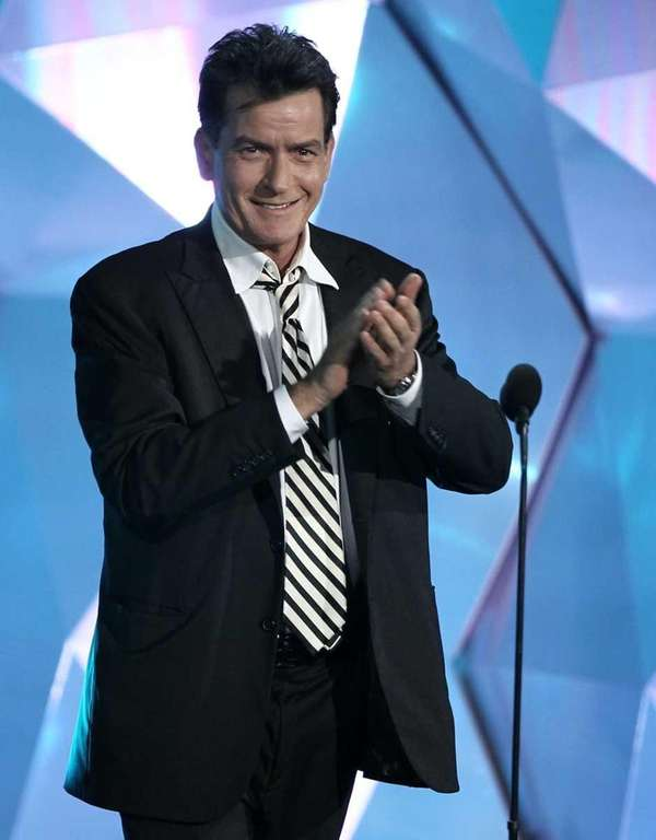 Charlie Sheen onstage at the MTV Movie Awards