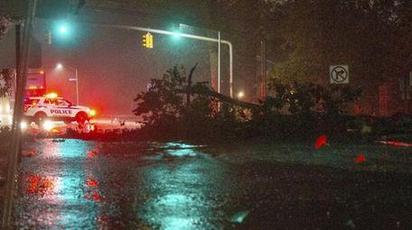 A downed tree blocks Glen Cove Road in