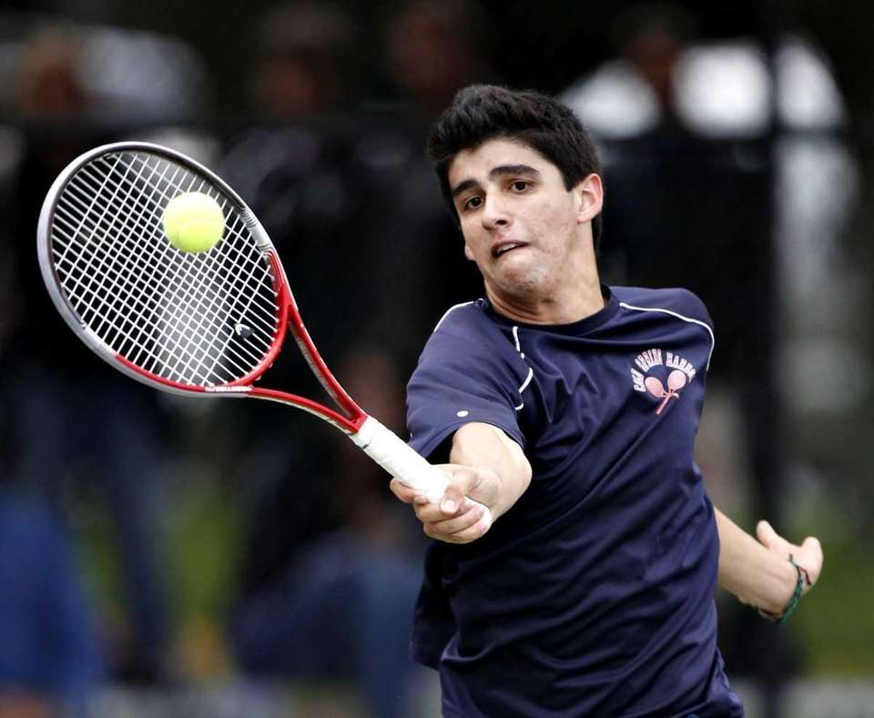 Cold Spring Harbor's Conor Dauer with the forehand