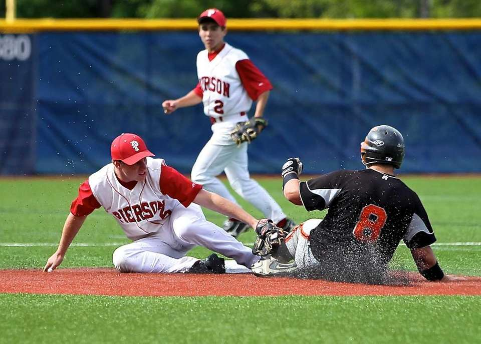 Pierson SS Forrest Loesch #15 puts the tag