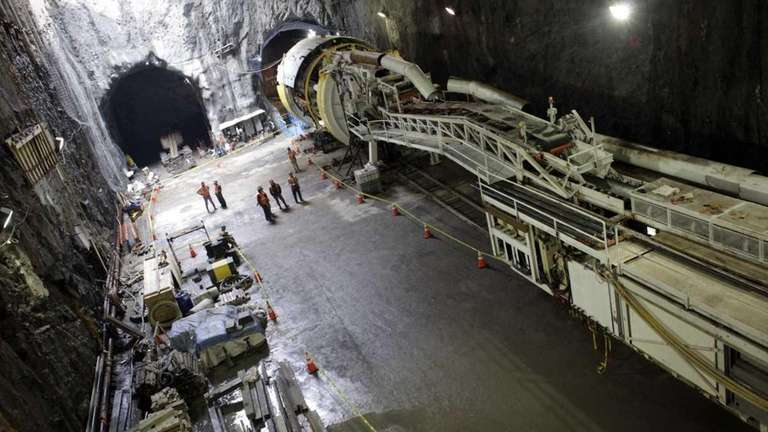 A tunnel boring machine is assembled for the