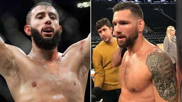 This composite image shows Dominick Reyes, left, and