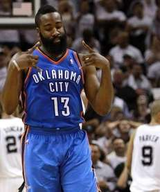 James Harden #13 of the Oklahoma City Thunder