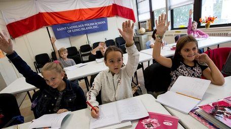 Students at the Saint Ladislaus Polish School of