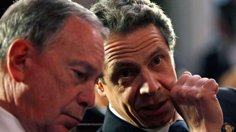 New York City Mayor Michael Bloomberg, left, and