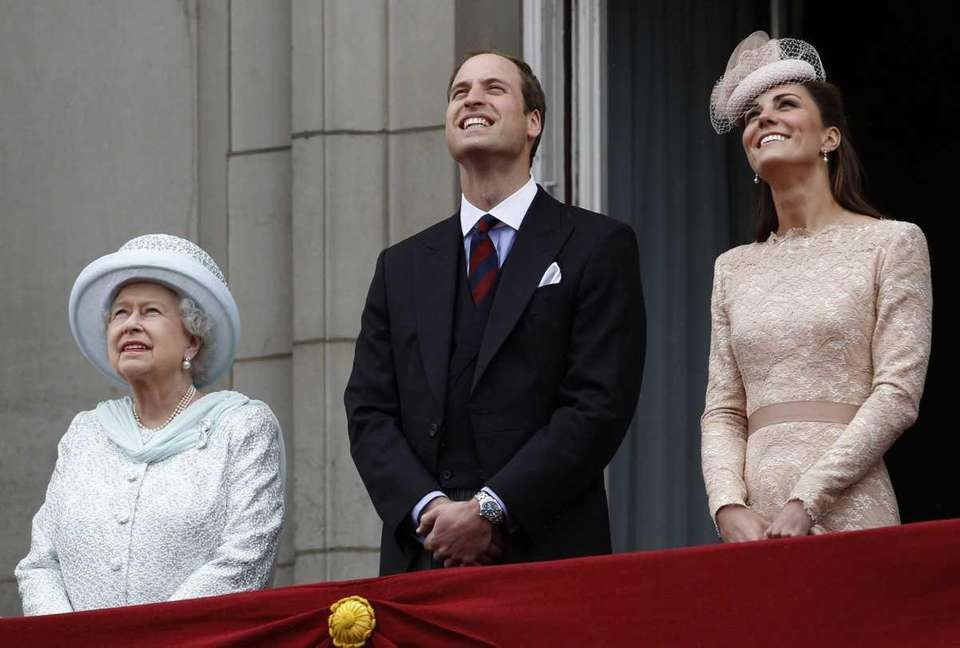 Britain's Queen Elizabeth Prince William, and his wife