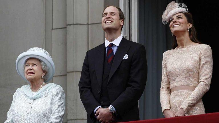 Britain's Queen Elizabeth Prince William, and his wife