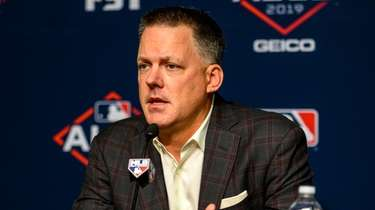 Houston Astros manager A.J. Hinch speaks to the