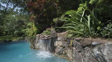 The waterfall at the home of Reuben Seguritan